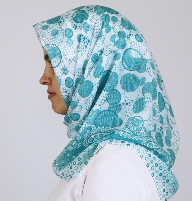 Ipekce scarf Teal Green Turkish Yazma Square Hijab - Polka Dot Teal Green