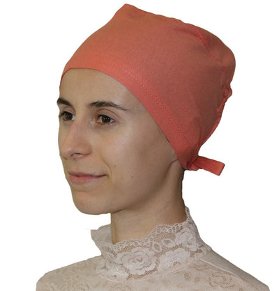 Ipekce Underscarf Coral Pink Cotton Hijab Bonnet Underscarf - Coral