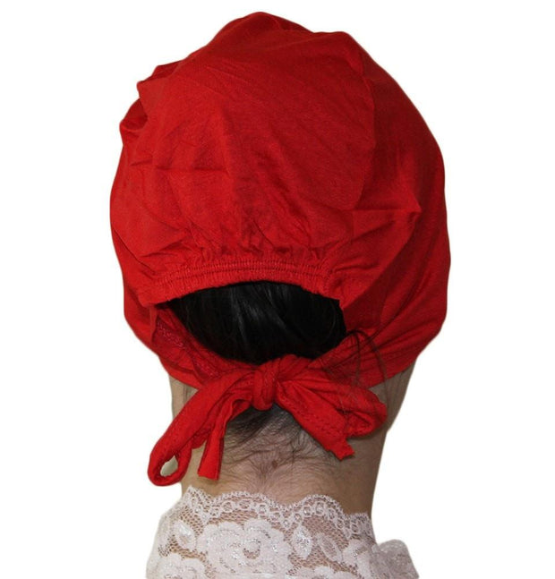 Ipekce Underscarf Red Cotton Hijab Bonnet Underscarf - Bright Red