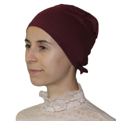 Ipekce Underscarf Red Cotton Hijab Bonnet Underscarf - Burgundy Red