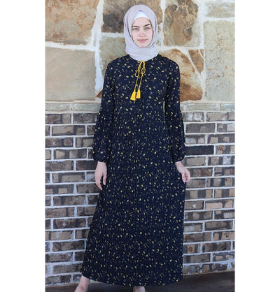Loreen Modest Floral Dress 2612 Black