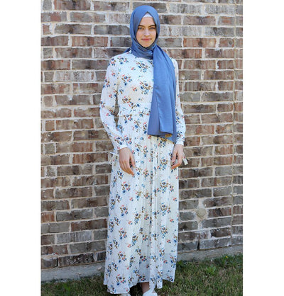 Loreen Modest Spotted Floral Dress 2723 White