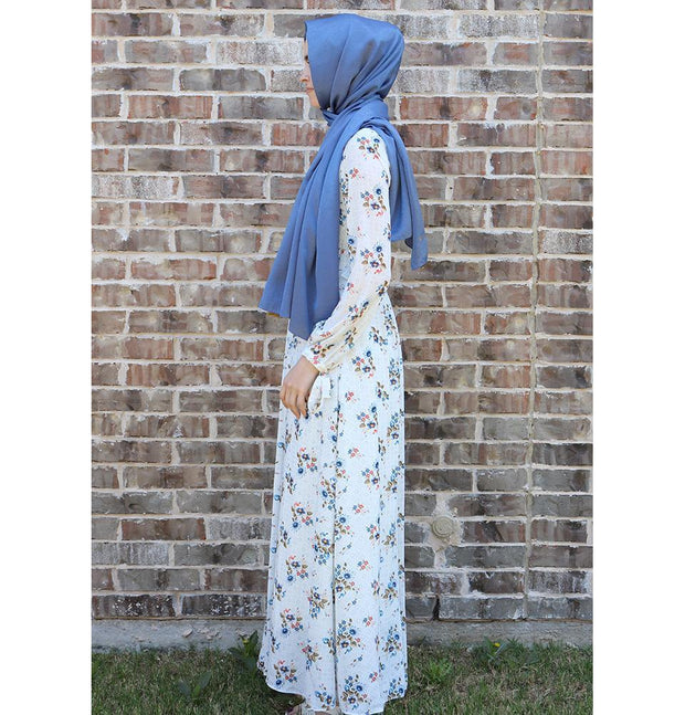 Loreen Dress Loreen Modest Spotted Floral Dress 2723 White