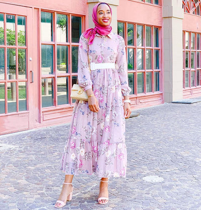 Loreen Dress 6 / Mauve Loreen Modest Floral Dress 22236