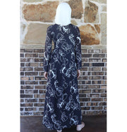 Loreen Modest Floral Dress 2651 Charcoal