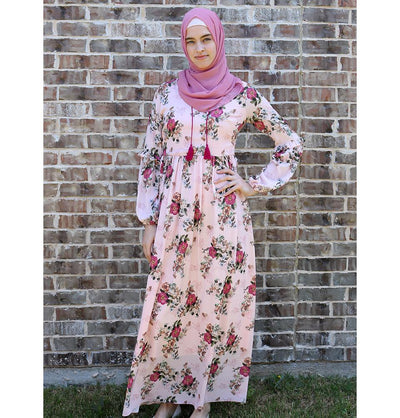 Loreen Modest Floral Dress 2610 Pink