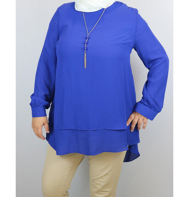 Loreen Modest Plus Size Tunic 9014 Royal Blue