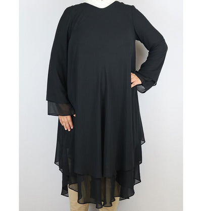 Loreen Modest Plus Size Tunic 9005 Black