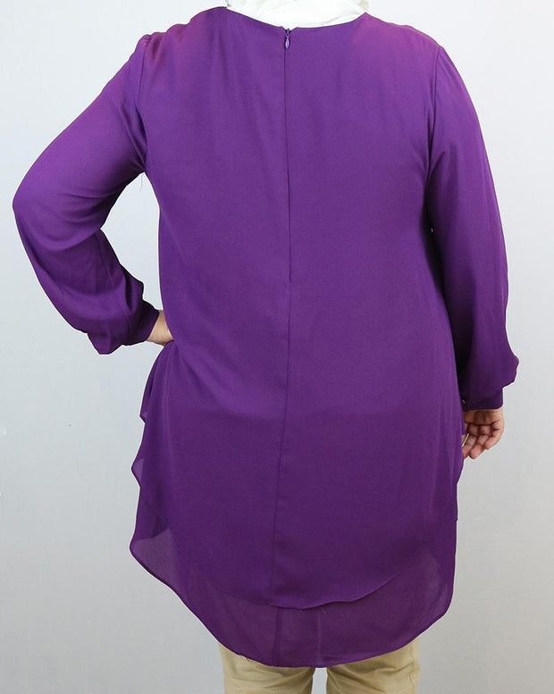 Loreen Modest Plus Size Tunic 9014 Purple