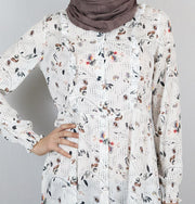 Loreen Tunic Loreen Modest Tunic 4706 White/Grey/Brown