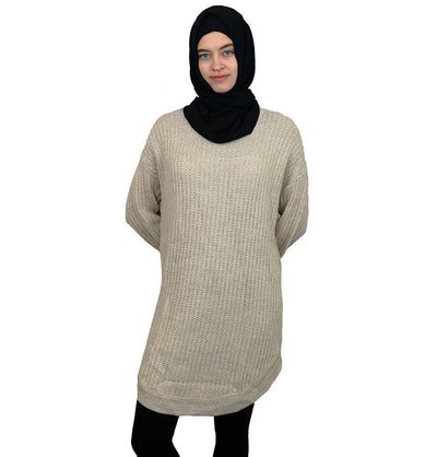Loreen Tunic Beige Loreen Modest Oversized Sweater 1512 Beige