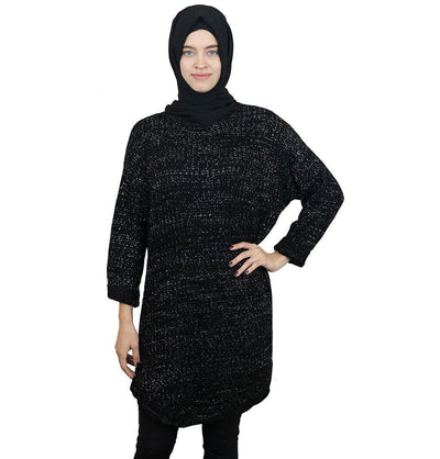 Loreen Tunic Black Loreen Modest Oversized Sweater 1512 Black