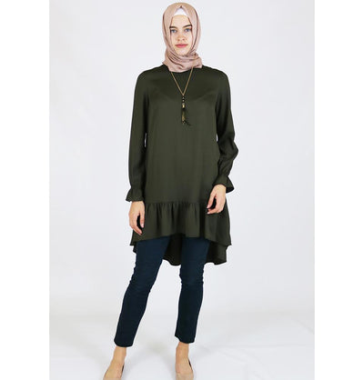 Loreen Tunic Loreen Ruffled Tunic with Necklace 7096 Green - Modefa