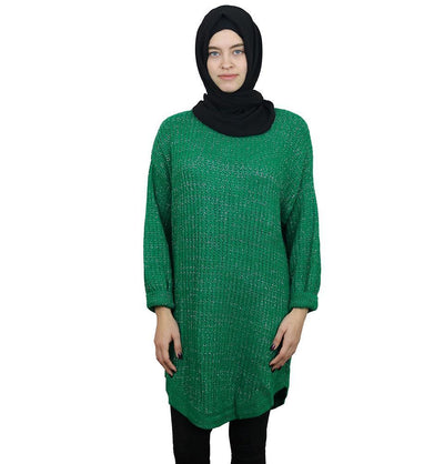 Loreen Tunic Green Loreen Modest Oversized Sweater 1512 Green
