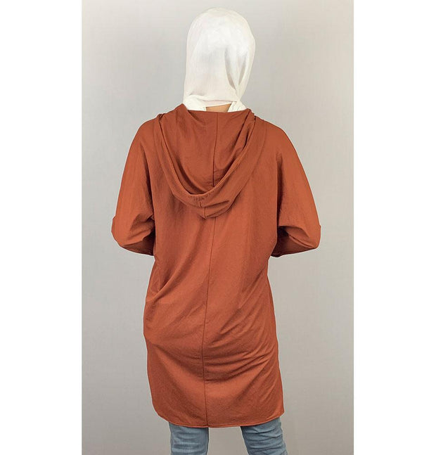 Loreen Tunic Loreen Modest Hooded Tunic 20085 Burnt Orange