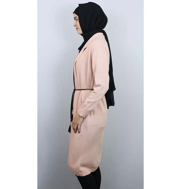 Loreen Tunic Pink Loreen Long Modest Cardigan 1526 Pink