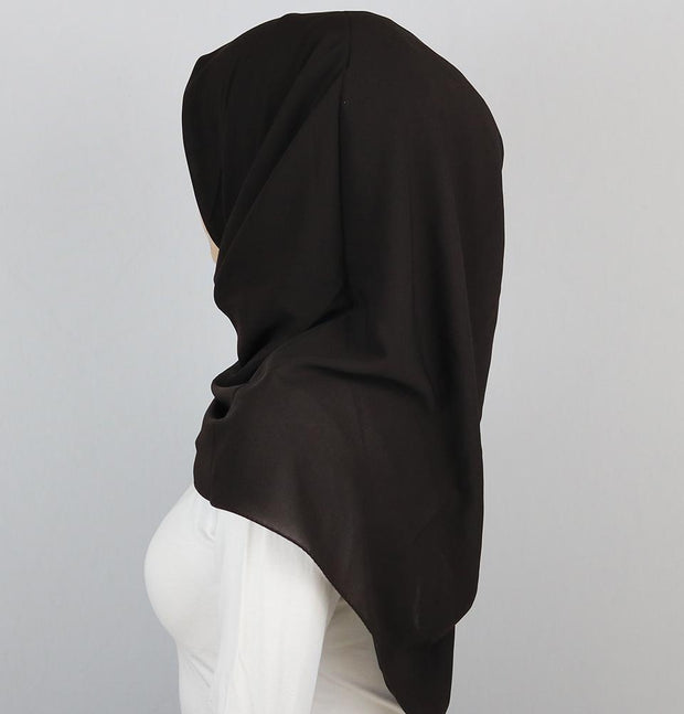 Medine scarf Dark Brown Medine Square Solid Chiffon Hijab Scarf Dark Brown