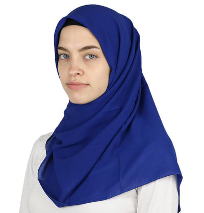 Medine Square Solid Chiffon Hijab Scarf Royal Blue