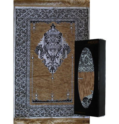 Mercan Prayer Rug Chenille Islamic Prayer Mat with Metallic Ottoman Design with Box - Modefa