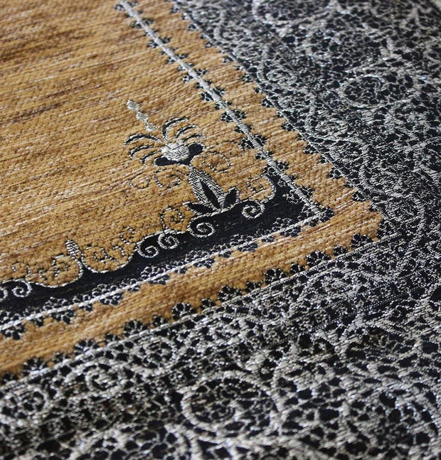 Mercan Prayer Rug Chenille Islamic Prayer Mat with Metallic Ottoman Design with Box
