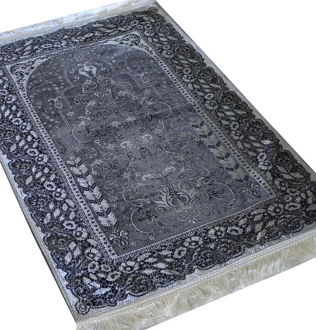Mercan Prayer Rug Chenille Islamic Prayer Mat with Metallic Ottoman Design with Box Dark Grey - Modefa