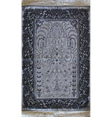 Mercan Prayer Rug Grey / Silver Chenille Islamic Prayer Mat with Metallic Ottoman Design with Box Grey