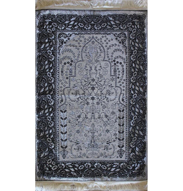 Mercan Prayer Rug Chenille Islamic Prayer Mat with Metallic Ottoman Design with Box Grey - Modefa