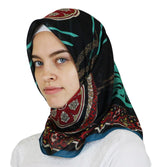Miss Ipek scarf Black Turkish Yazma Square Hijab - Ottoman Black / Red