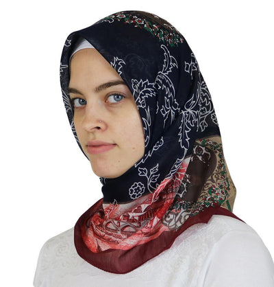 Miss Ipek scarf Blue Turkish Yazma Square Hijab - Ottoman Tulip Blue