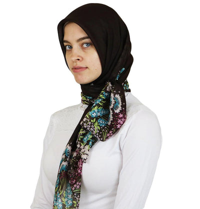 Miss Ipek scarf Turkish Yazma Square Hijab - Solid Brown - Modefa