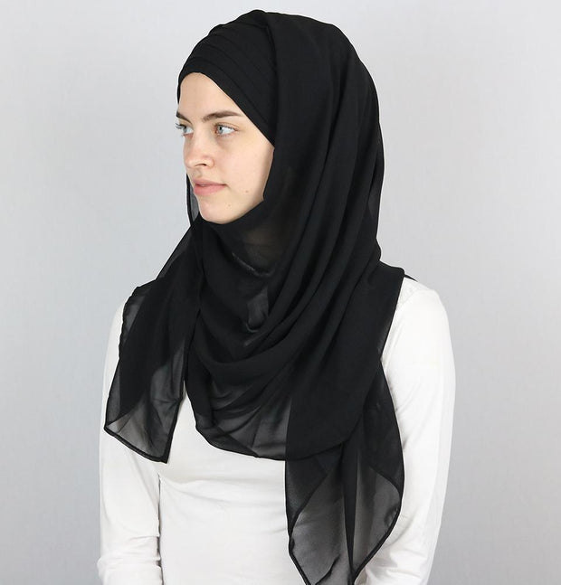Practical Instant Chiffon Hijab Shawl CPS0062 Black