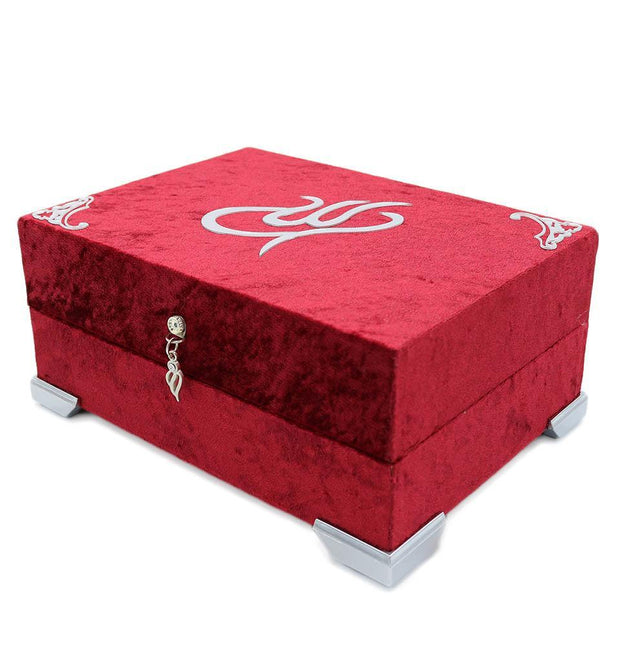 Modefa Book Holy Quran in Keepsake Velvet Gift Case - Red