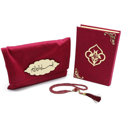 Modefa Book Raspberry Pink Holy Quran in Velvet Gift Bag with Prayer Beads - Raspberry Pink
