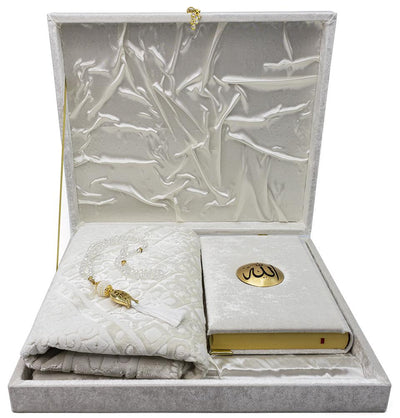 Modefa Book White Luxury Islamic Gift Set - Velvet Box with Quran and Luxury Velvet Prayer Rug - White