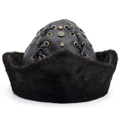 Modefa Bork Black Ottoman Bork The Great Seljuks Genuine Leather & Faux Fur Hat - Black Medium