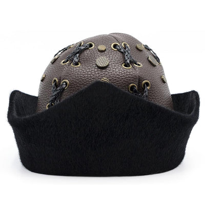 Modefa Bork Brown Ottoman Bork The Great Seljuks Genuine Leather & Faux Fur Hat - Brown Large