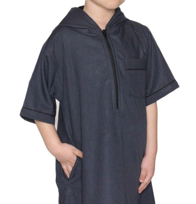 Modefa Boy's Full Length Short Sleeve Islamic Thobe - Gray