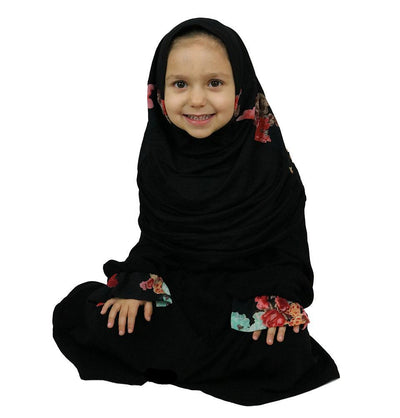 Modefa Dress Islamic Turkish Child Ferace Girl's Abaya Black & Floral ET-2201