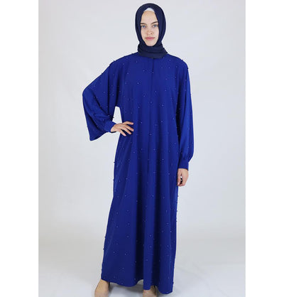 Modefa Dress Simple Beaded Ferace Abaya - Blue - Modefa