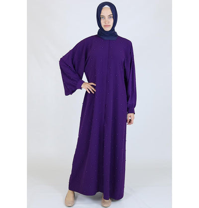 Modefa Dress Simple Beaded Ferace Abaya - Purple