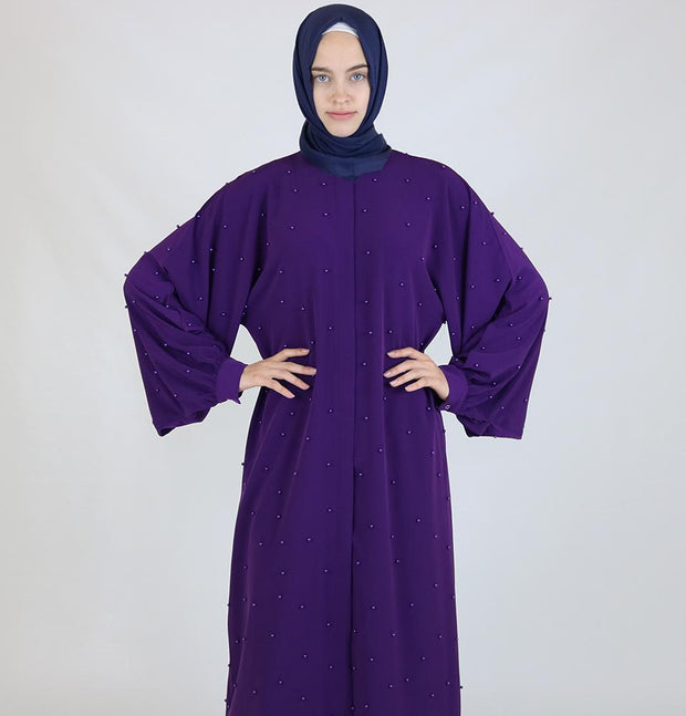Modefa Dress Simple Beaded Ferace Abaya - Purple - Modefa