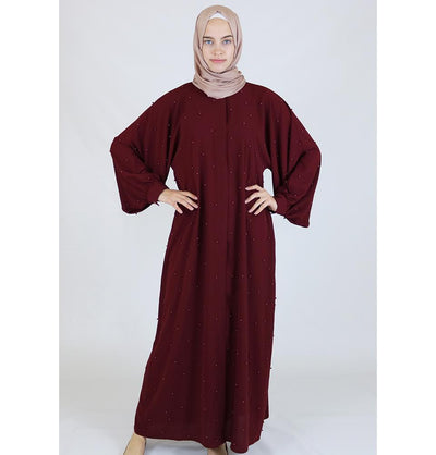 Modefa Dress Simple Beaded Ferace Abaya - Red