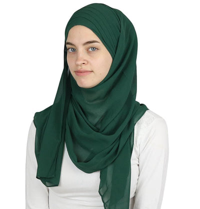 Modefa Green Practical Instant Chiffon Hijab Shawl CPS0062 Forest Green