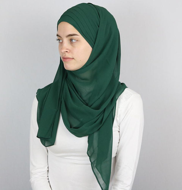 Practical Instant Chiffon Hijab Shawl CPS0062 Forest Green