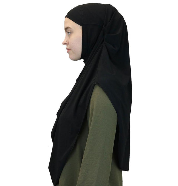 Modefa Instant Hijabs Black Modefa Long One Piece Instant Practical Hijab – Black