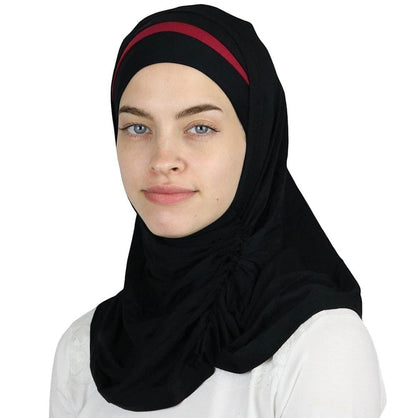 Modefa Instant Hijabs Black / Red Practical Instant Jersey Hijab B0008 Black