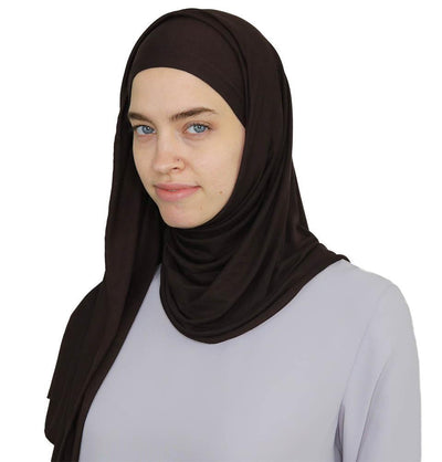Modefa Instant Hijabs Brown Practical Instant Jersey Wrap Hijab BT1 Brown