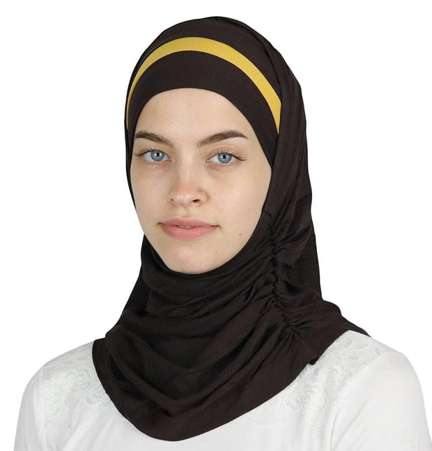 Modefa Instant Hijabs Brown / Yellow Practical Instant Jersey Hijab B0008 Brown