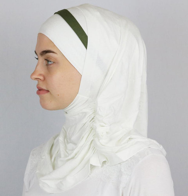 Modefa Instant Hijabs Creme / Green Practical Instant Jersey Hijab B0008 Creme