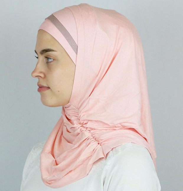 Modefa Instant Hijabs Pink / Grey Practical Instant Jersey Hijab B0008 Pink